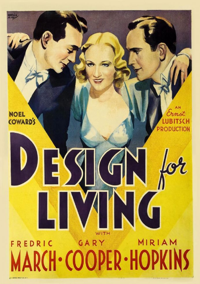 Design For Living, Gary Cooper, Miriam Hopkins, Fredric March, 1933 Vintage Print.  (002832)